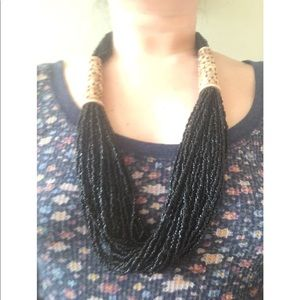 Jewelry - 5/$25 SALE Multi Bead Wood Carving Black Necklace